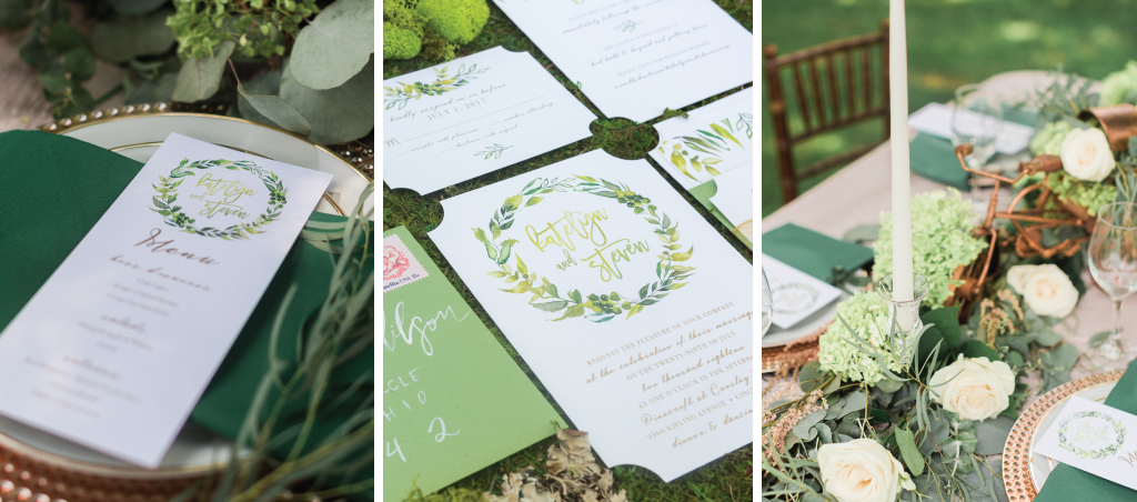 green-unique-wedding-invitation-set