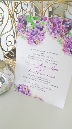 hydrangea wedding invitation watercolor