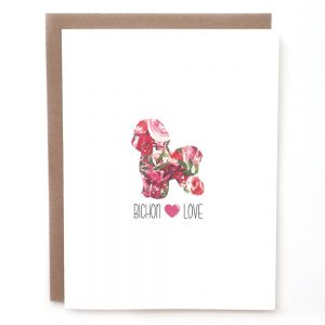 bichon dog greeting card