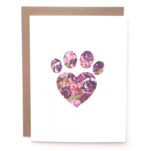 paw print dog cat greeting card