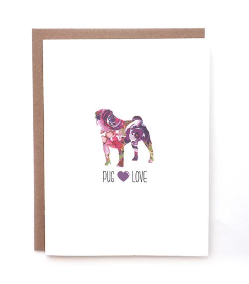 pug dog greeting card